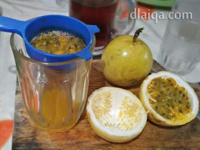 saring isi buah markisa