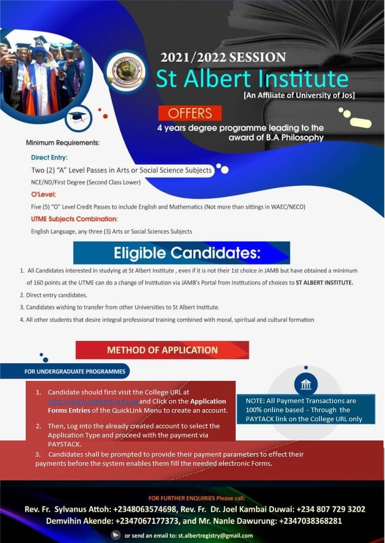 St. Albert Institute Degree Form 2021/2022 [Affiliated to UNIJOS]
