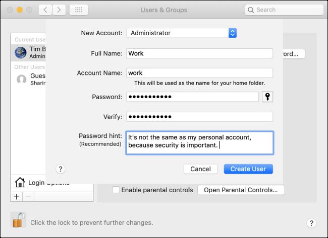 قم بإنشاء حساب على macOS