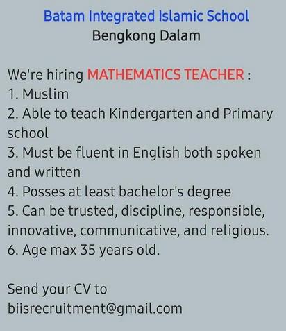 Loker Batam 2021 Guru Matematika
