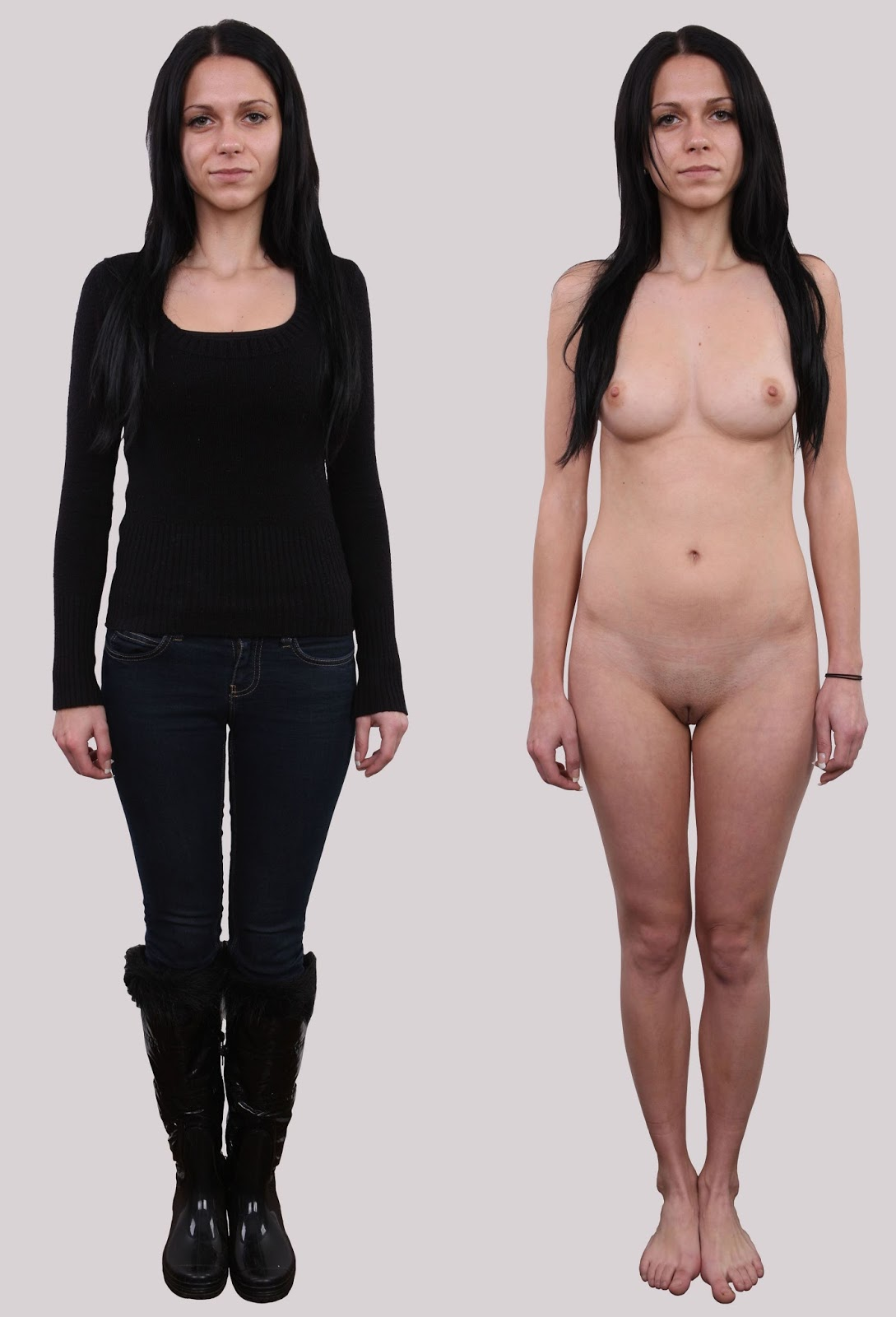 Model Audition - Posing Side By Side Cloth Unclothed -9205