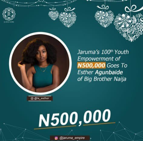 #BBNaija 2019: Jaruma gifts evicted Esther N500,000 as part of her youth empowerment, gives reasons