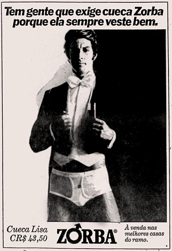 Propaganda antiga da Zorba apresentando sua cueca lisa em 1977