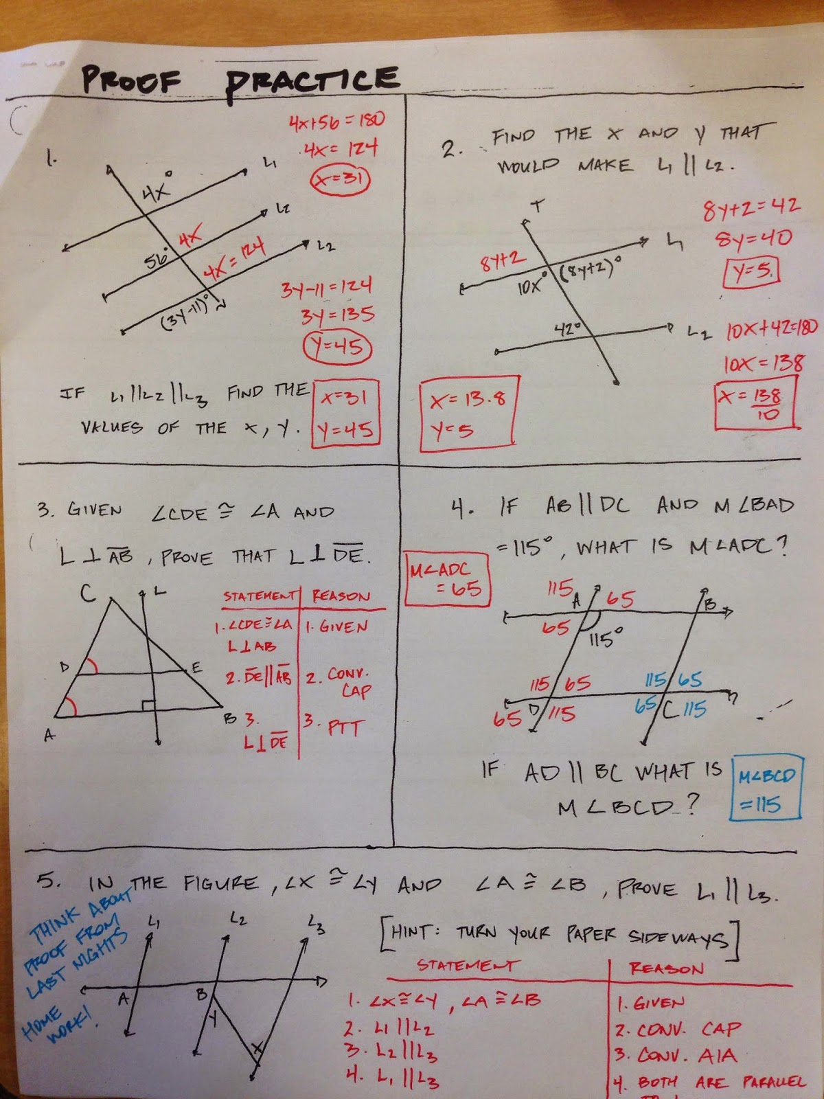 Study Guide 3 Honors Geometry Vintage High School Chapter 3 Proof Practice