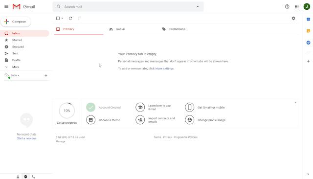 لوحة تحكم gmail