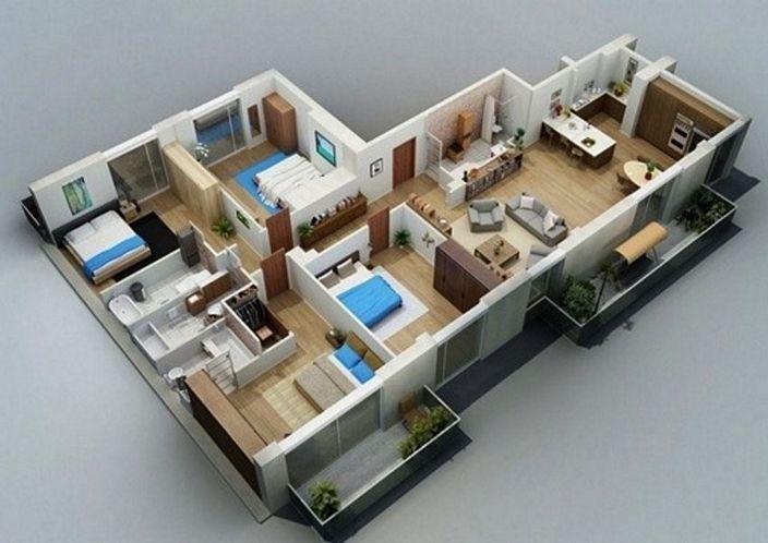 denah rumah satu lantai tiga kamar yang terbaru