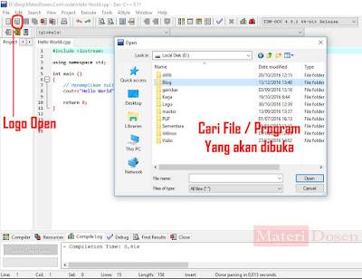 Cari file / program yang akan sobat buka