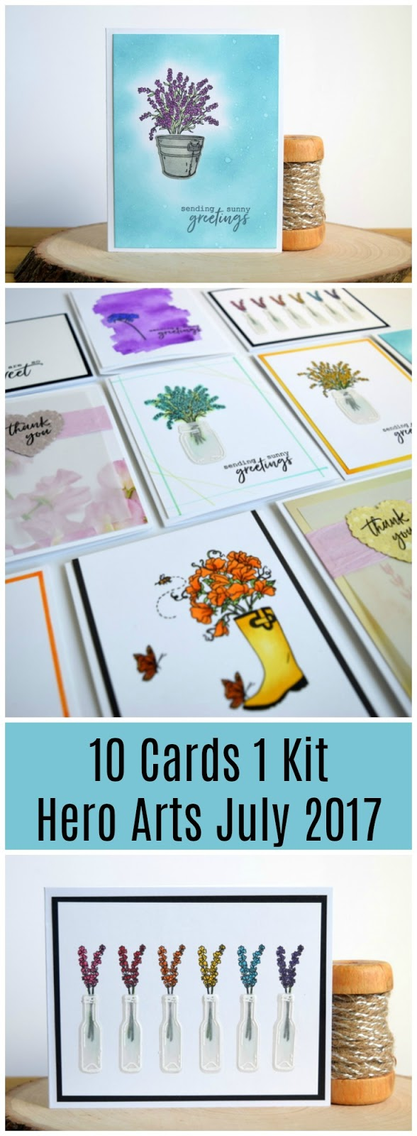 10 Cards 1 Kit by Jess Crafts using Hero Arts My Monthly Hero July 2017 Kit