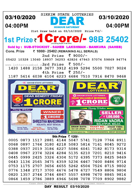 Sikkim State Lottery Sambad 03-09-2020 Today Result 4 PM