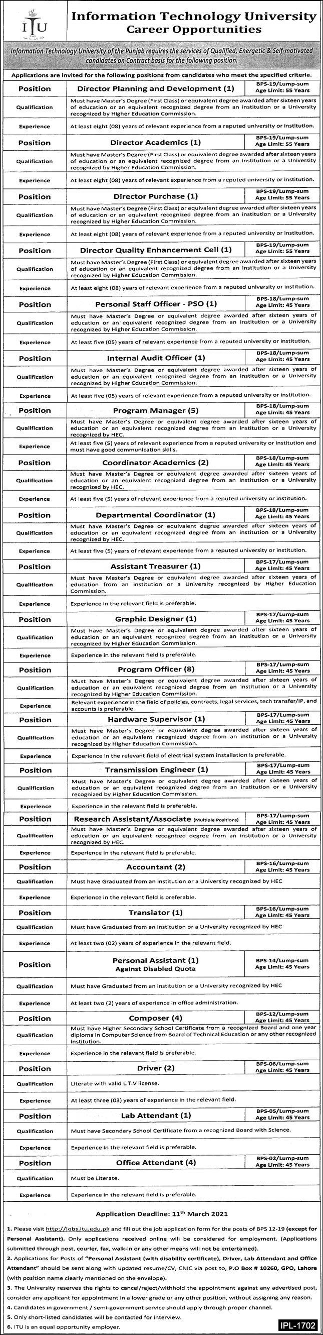 Information Technology University ITU Jobs 2021 For Non Teaching Staff