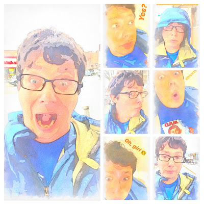 A collage of Greig Roselli in a blue parka