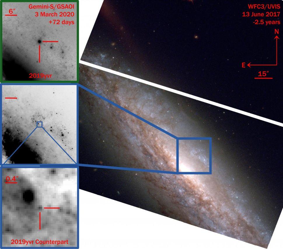 O Telescópio Espacial Hubble detectou o local da supernova 2019yvr dois anos e meio antes de a estrela explodir.