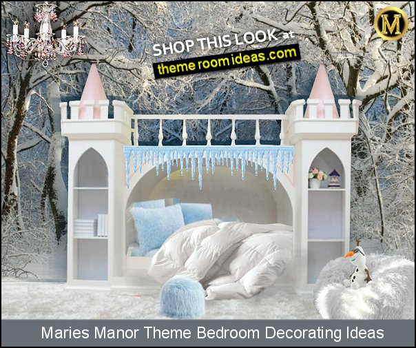 frozen princess  castle bedroom furniture castle bed  winter wallpaper MURAL SNOW QUEEN CASTLE BED