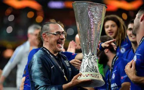 Maurizio Sarri Celebrates Europa League Trophy