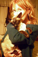 Toni Clark with her cat which was stolen