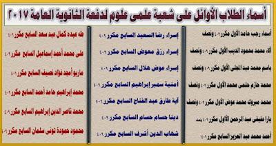 أسماء اوائل طلبة علمى علوم لدفعة ثانوية عامة 2017