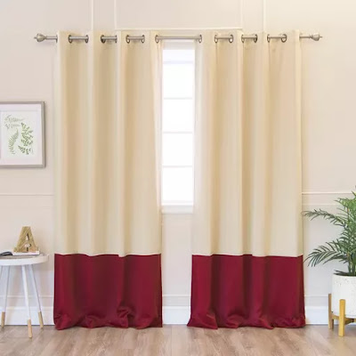 color block blackourt curtains