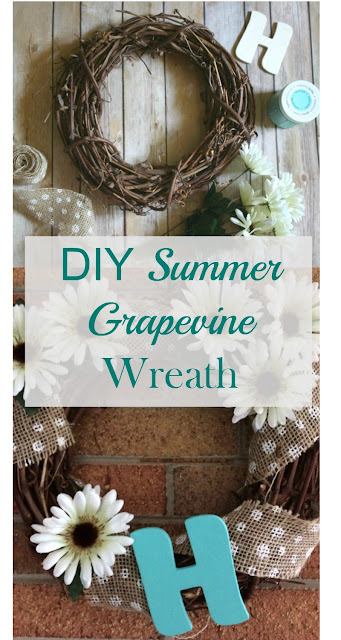 Make a summer grapevine wreath using supplies from the Dollar Store!