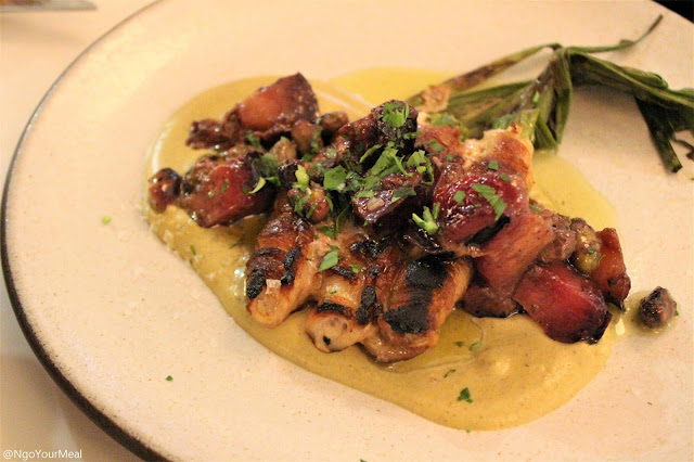 Grilled Pork Belly Wrapped in Blanched Scallions with Pistachio Puree and Marinaded Plums at Sportello in Boston