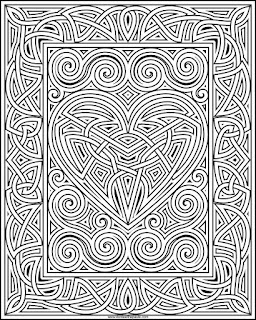 Free knotwork frame and heart coloring page available in jpg and transparent png format.