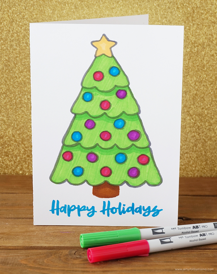 Hand Lettered Christmas Tree Card with Free Printable