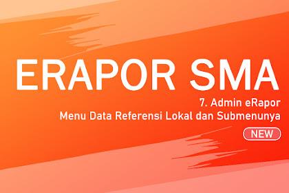 Langkah #7 Admin eRapor - Menu Data Referensi Lokal