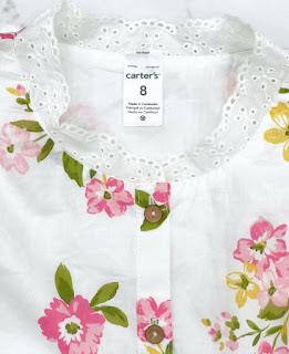 Áo vải kate cotton bé gái size 2-8T xịn dư made in vietnam, hiệu Carter's