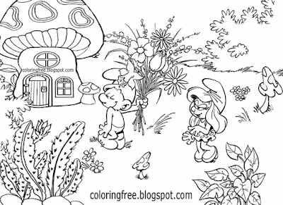 Romantic Smurf happy fun interesting drawings of the Smurfs complex coloring pages for older kids