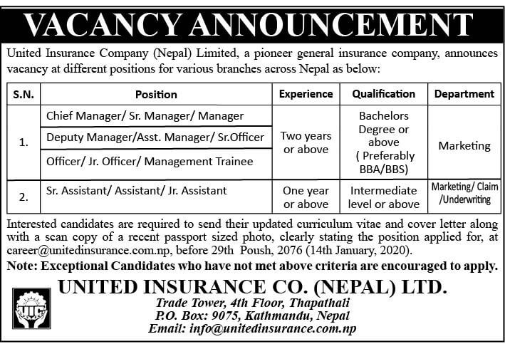 Vacancy Announcement from United Insurance Co. (Nepal) Limited