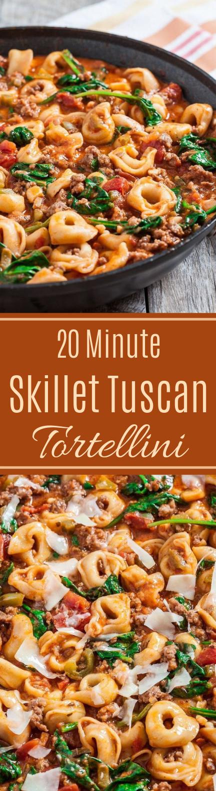 20-Minute Skillet Tuscan Tortellini #quick #dinner