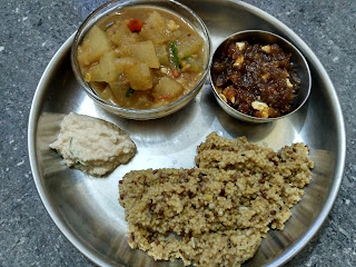 Foxtail millet Dew gram sprouts pongal,  Ash gourd sambhar,  Coconut chutney,  Ash gourd halwa