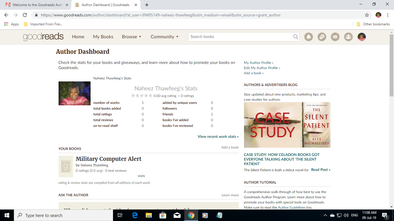 Naheez Thawfeeg's Blog: Finished signup at Goodreads™ and