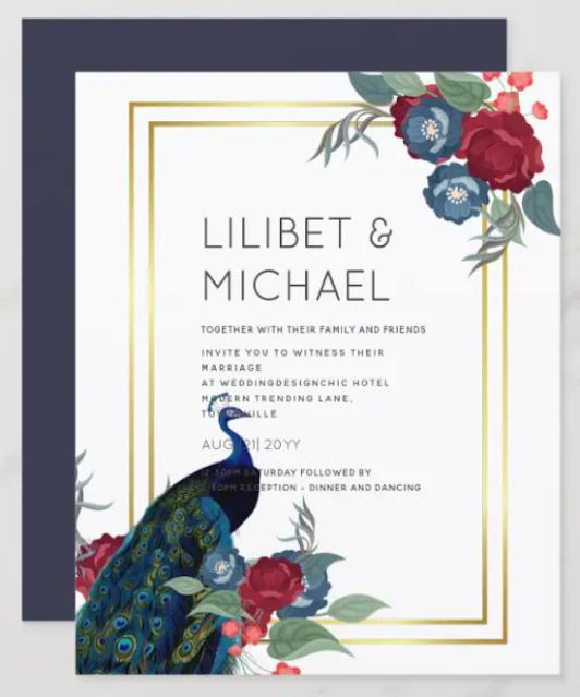 peacock blue burgundy wedding invitation