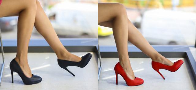 Pantofi eleganti cu toc si varf rotund de zi / de birou ieftini rosii, bleumarin