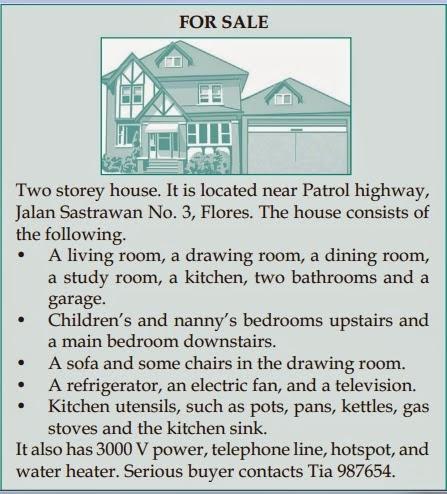 Contoh Iklan Rumah Dalam Bahasa Inggris