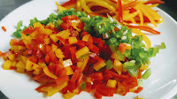 Chopped bell peppers capsicum for chicken Gilafi Seekh Kebab recipe