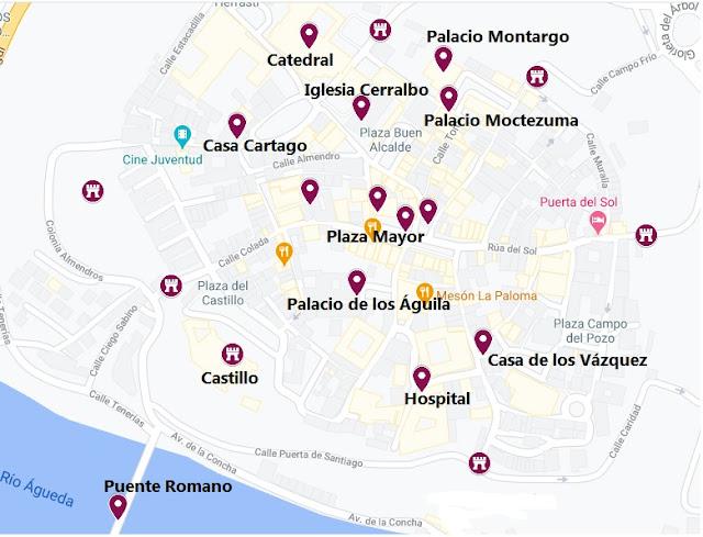 lugares que ver en Ciudad Rodrigo, mapa