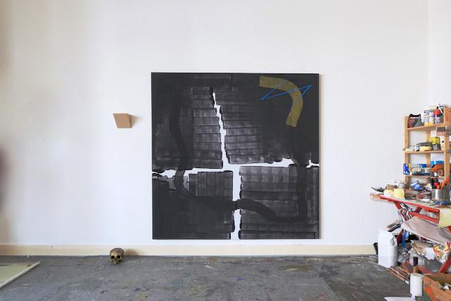 "Michel Carmantrand CARTHAGO DELENDA EST, 185x185cm (72.8x72.8""), gesso, pigments acrylic and oil paint on canvas, 2021."