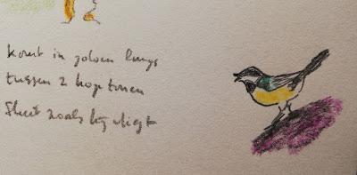 Haiku met koolmees tekening