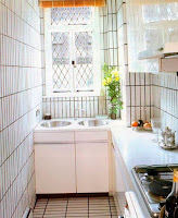 Bright narrow kitchen ideas with white furniture and white tiles wall also floor