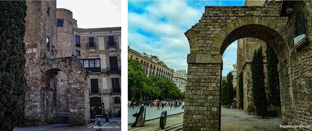 Aqueduto e torre romanos na Plaça Nova de Barcelona