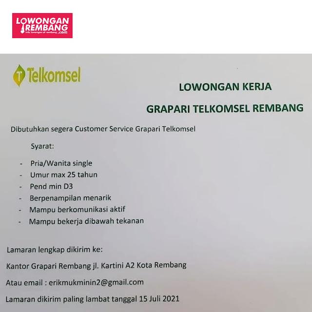 Lowongan Kerja Customer Service Grapari Telkomsel Rembang
