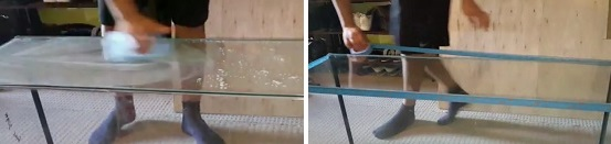 Clean glass using glass cleaner & apply masking tape