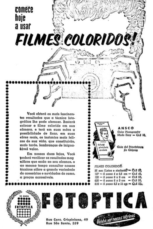 Propaganda da Fotoptica nos anos 50 com ofertas de filmes fotográficos coloridos