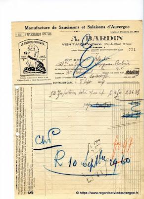 Vieille facture : A. Bardin, manufacture de saucissons et salaisons d'Auvergne, Vertaizon.