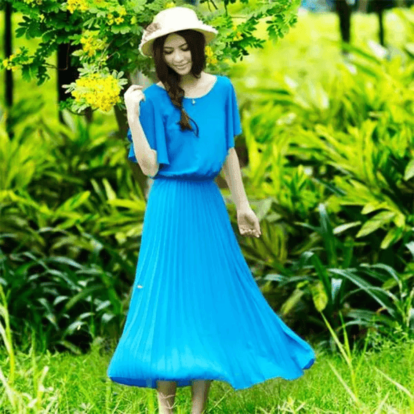 Beautiful summer dress with gentle blue tones, beautiful, outstanding and stylish office clothes