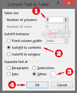 Pengaturan konversi tabel menggunakan karakter koma