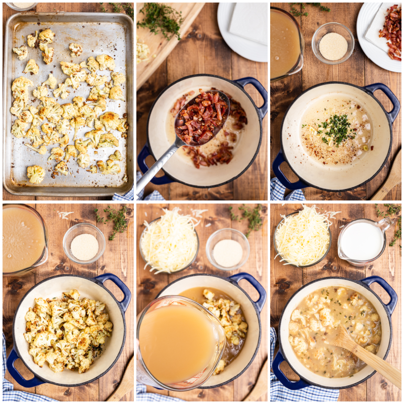Six overhead photos of the process of making Easy Cauliflower Cheese Soup