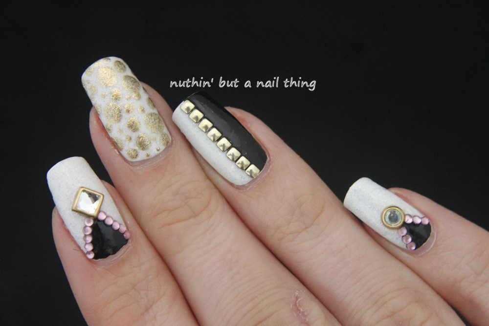 Nuthin but a nail thing black gold and white nail art black gold and white nail art prinsesfo Images