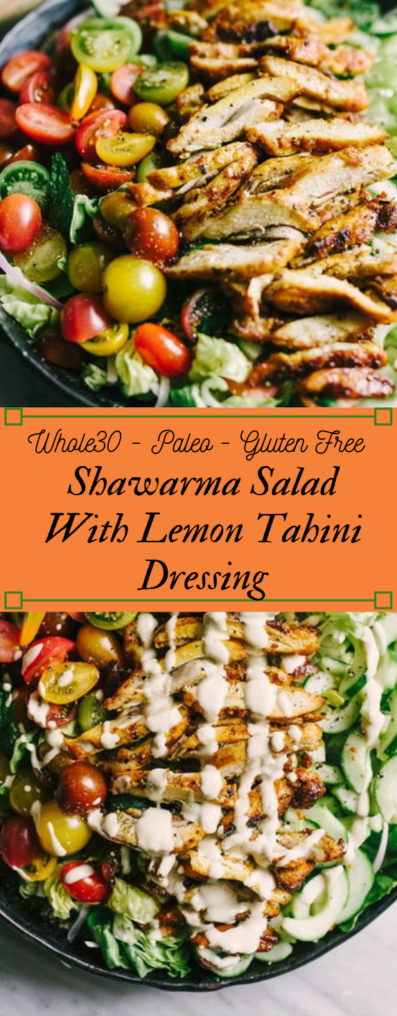 CHICKEN SHAWARMA SALAD WITH TAHINI DRESSING #healthydiet #easy #meals #salad #kategonic
